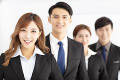 Portrait of successful young business team in office. Portrait of asian successful young business team in office royalty free stock photography