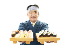 Portrait of Asian sushi chef Stock Photos