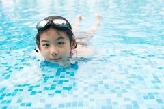 Asian teenager girl with goggles Royalty Free Stock Images