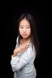 Portrait of Asian Teen Girl Posing on Black Background Stock Image