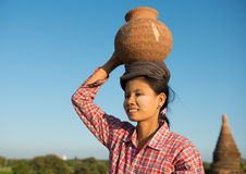 Portrait of Asian traditional female farmer Royalty Free Stock Image