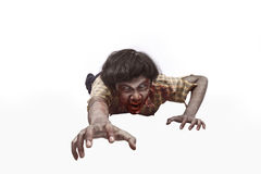 Portrait of asian undead man crawling Royalty Free Stock Image