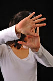 Woman Cover Her Face With Hands Royalty Free Stock Images
