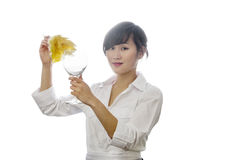 Portrait of Asian woman dusting glass with backlit over white background Royalty Free Stock Images
