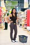 Portrait of Asian Woman in Grocery Store Royalty Free Stock Photography