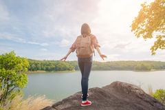 Portrait of asian woman hiking Stock Image