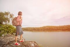 Portrait of asian woman hiking Stock Photos