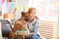 Celebrating Dog Birthday stock image
