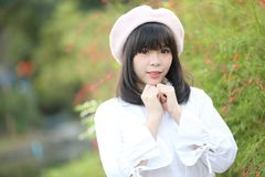 Portrait asian woman lolita dress on nature park. In close up royalty free stock images