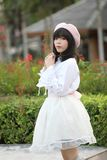 Portrait asian woman lolita dress on nature park. In close up stock photos
