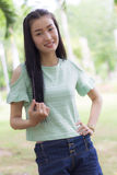 Portrait asian woman outdoors Royalty Free Stock Image