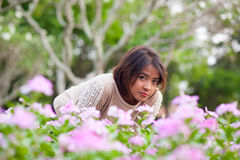 Portrait asian woman in park. Royalty Free Stock Image
