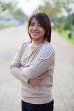 Portrait asian woman in park. Royalty Free Stock Images