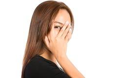 Portrait Asian Woman Peeking Out Through Fingers Stock Photos