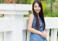 Portrait Asian woman at rail bridge Royalty Free Stock Photo