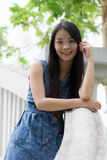 Portrait Asian woman at rail bridge Royalty Free Stock Photos