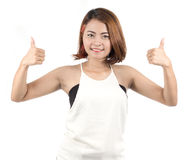 Portrait of Asian woman raise her thumbs Royalty Free Stock Photos