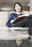 Portrait of Asian woman reading Royalty Free Stock Photos