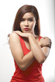 Portrait of Asian woman in Red undershirt Stock Photo