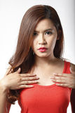Portrait of Asian woman in Red undershirt Stock Image