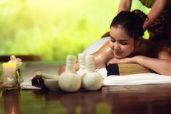 Portrait of Asian woman is relaxing in spa massage, Thai massage.  royalty free stock photo
