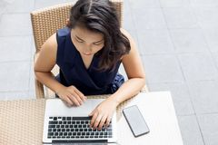 Portrait business asian woman selfy with laptop stock photos