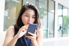 Portrait business asian woman selfy with mobile royalty free stock photos