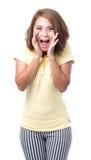 Portrait Asian woman shouting on White background. Portrait Asian woman shouting in Yellow T-shirt on White background Royalty Free Stock Photos