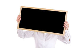 Portrait of Asian woman show the black board isolated isolated o Stock Photos