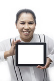 Portrait of Asian woman showing tablet computer Stock Photos