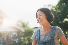 Portrait of asian woman smiling hanppy outside. At home Royalty Free Stock Image