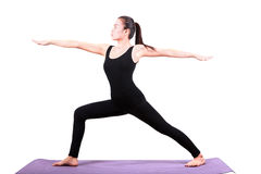 Portrait of asian woman wearing black body suit sitting in yoga Royalty Free Stock Photo