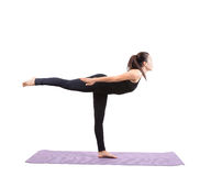 Portrait of asian woman wearing black body suit sitting in yoga Stock Image
