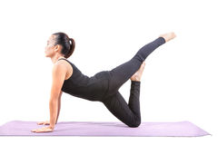 Portrait of asian woman wearing black body suit sitting in yoga Stock Photo
