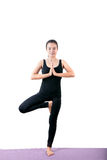 Portrait of asian woman wearing black body suit sitting in yoga Royalty Free Stock Photos