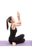 Portrait of asian woman wearing black body suit sitting in yoga Stock Images