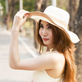 Portrait Asian woman wearing hat Royalty Free Stock Images
