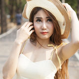 Portrait Asian woman wearing hat Royalty Free Stock Photos