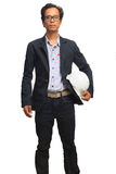 Portrait of asian working man holding safety helmet isolated whi Royalty Free Stock Photography