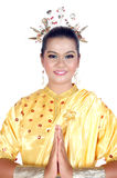 Portrait of an asian young girl dressed in traditional indigenous tribal borneo Royalty Free Stock Photo
