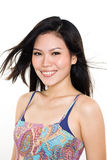 Portrait of Asian young woman. Happy smiling asian young woman face expression Royalty Free Stock Images