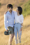 Portrait of asian younger man and woman relaxing vacation  Stock Images