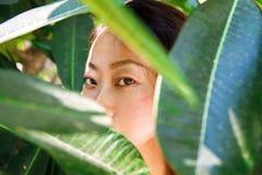 Portrait asiatique de plan rapproché de visage de beauté avec la peau propre, dame élégante fraîche image libre de droits