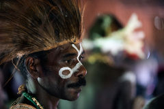 Portrait of the Asmat warrior. Royalty Free Stock Photo
