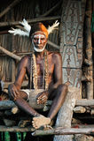 Portrait of the Asmat warrior Stock Photos