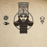 Portrait of the Assyrian man. Character of Sumer mythology. Space symbols. A background - imitation of old paper. Royalty Free Stock Images