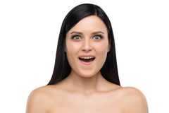 Portrait of astonished brunette. Royalty Free Stock Photography