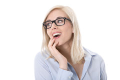 Portrait of astonished business woman with eyeglas Stock Photo