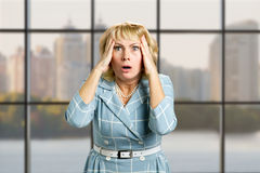Portrait of astonished mature woman. Royalty Free Stock Photo