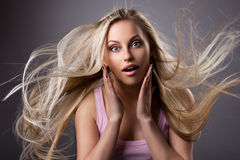 Portrait of astonished young woman Royalty Free Stock Image
